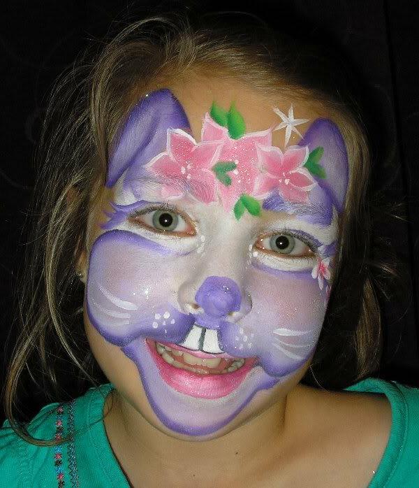 kinderschminke-vorlagen-hase-kleines-mädchen- helle augen