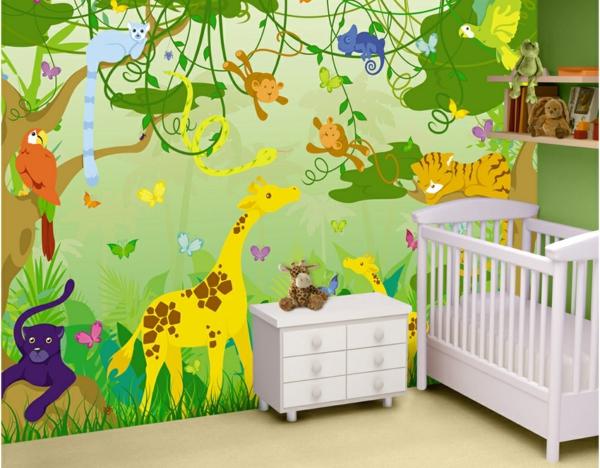 Kinderzimmer Tapete Dschungel : Kinderzimmer Tapete mit Dschungelapplikation