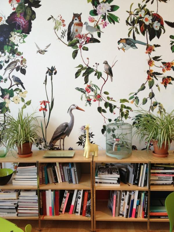 kindertapete-dschungel-exotische-vogel