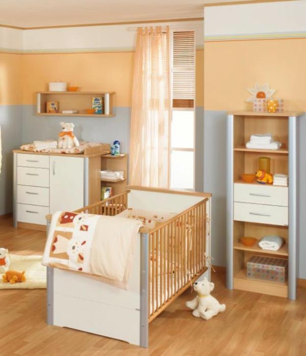 kinderzimmerwände-gestalten-pfirsich-farbe- durchsichtige vorhänge