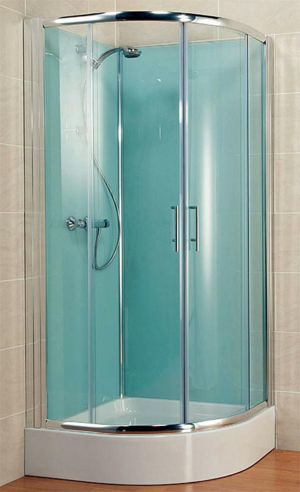 eine kleine moderne duschkabine - in der ecke