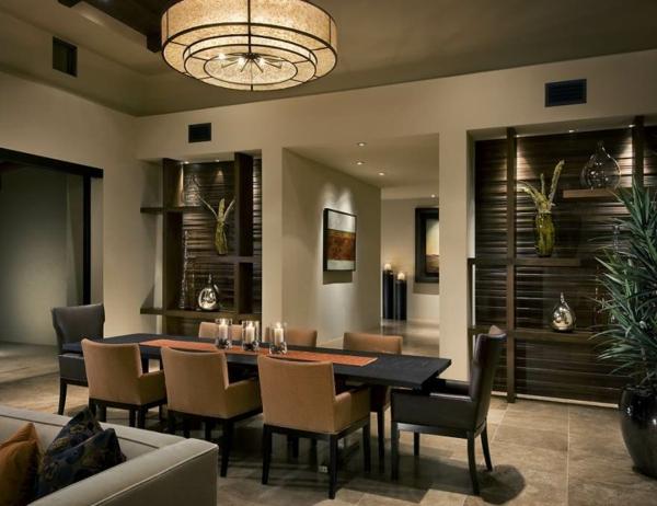 kleine-und-schöne-esszimmergestaltung- modernes kronleuchter-design