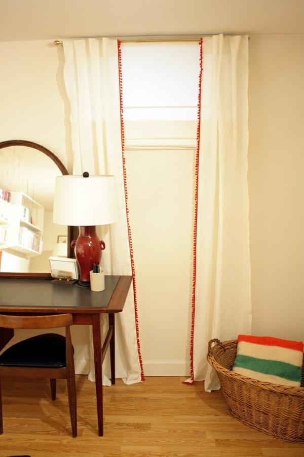 kreativ-gestaltete-schlafzimmer gardinen- lampe in weiß