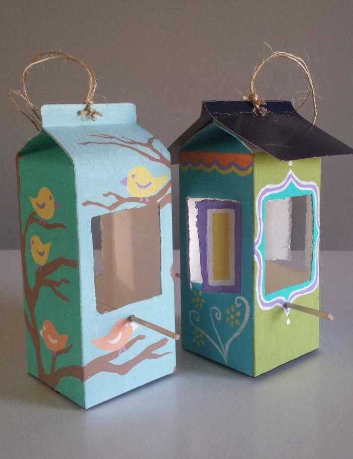 kreative bastelideen vogelhaus bauen aus milchkarton upcycling ideen basteln kreativ