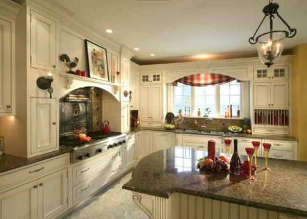 kreative-gestaltung-französische-landhausküchen-marmor kochinsel