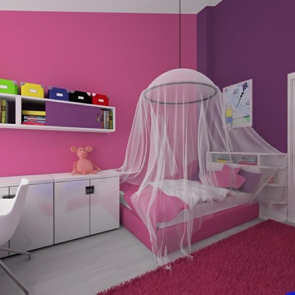 kreative-wandgestaltung-mädchenzimmer- durchsichtige vorhänge