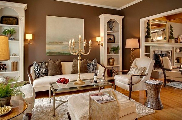Originelle wohnzimmereinrichtung beispiele zum inspirieren for Brown green and cream living room ideas