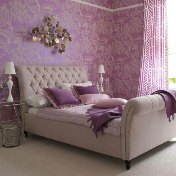 lila-interieur-im-schlafzimmer-modernes bett design