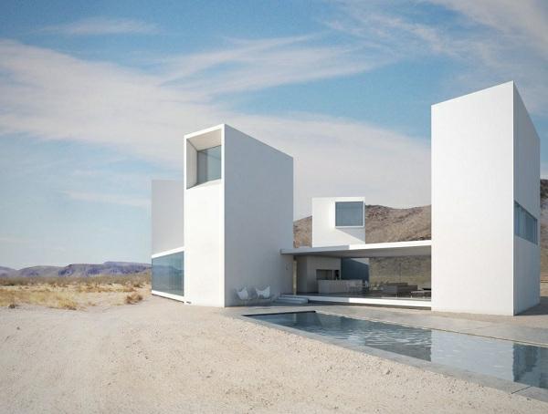 moderne-gestaltung-minimalismus-architektur- gebäude in weiß