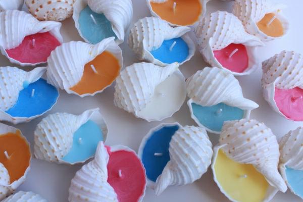 muschel-bunte-farben-dekoration-maritim- kleine kerzen
