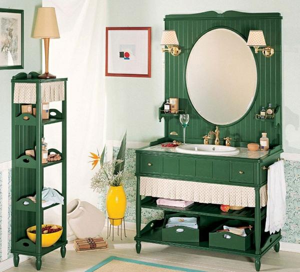 nostalgie-waschbecken-und-spiegel-grüne-farbe-viele regale