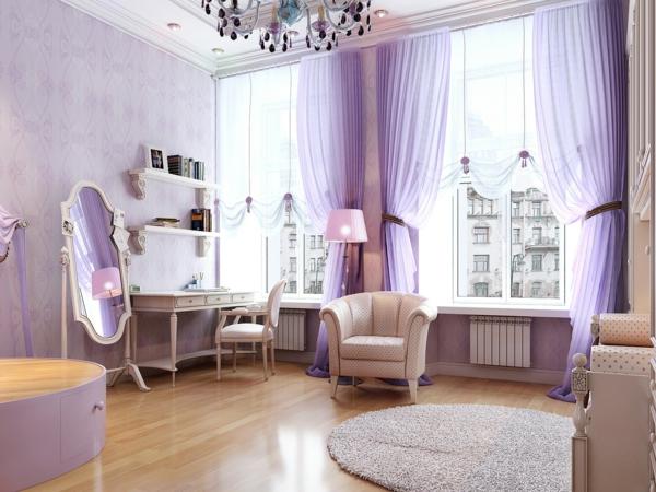 romantisches-schlafzimmer-lila-nuancen-teppich mit runder teppich