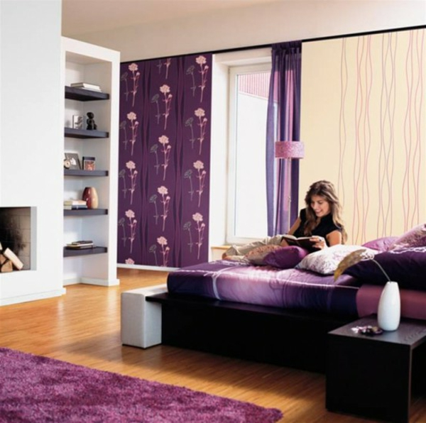 lila schlafzimmer beispiele inspiration. Black Bedroom Furniture Sets. Home Design Ideas