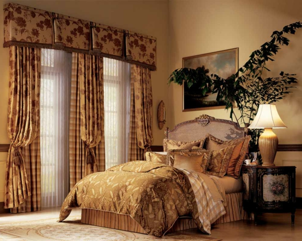 schöne-gardinen-für-schlafzimmer-super große pflanze