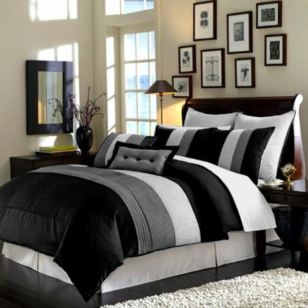 schlafzimmer-bettwäsche-in-schwarz-und-weiß- bilder an der wand