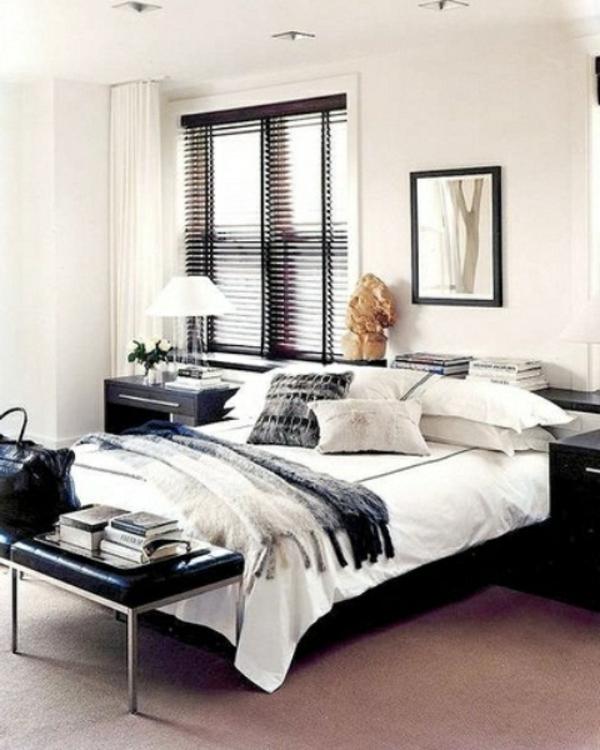 schlafzimmer-einrichtungsideen-für-männer- farbgestaltung- schwarz und weiß