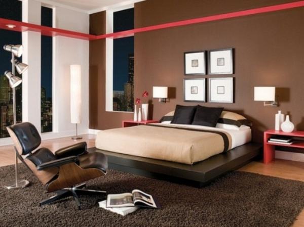 schlafzimmer-ideen-wandfarben-schön- schwarzer stuhl