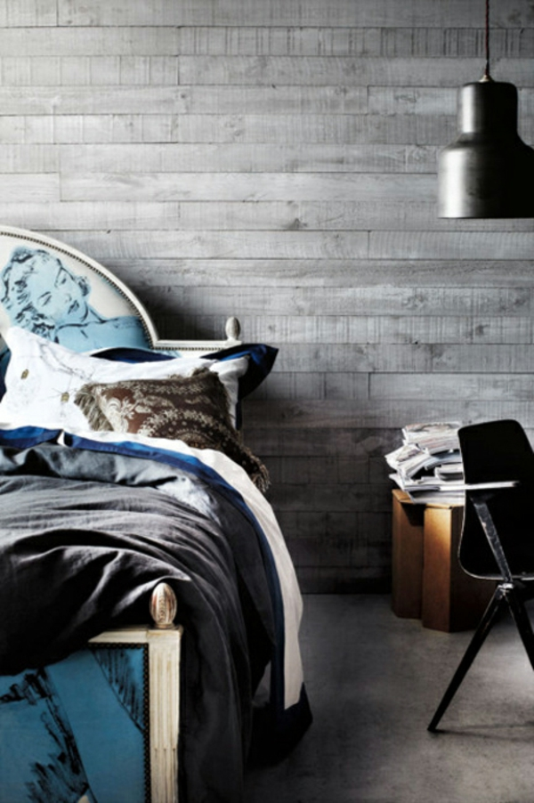 schlafzimmer-inspiration-für-männer-dunkle bettwäsche