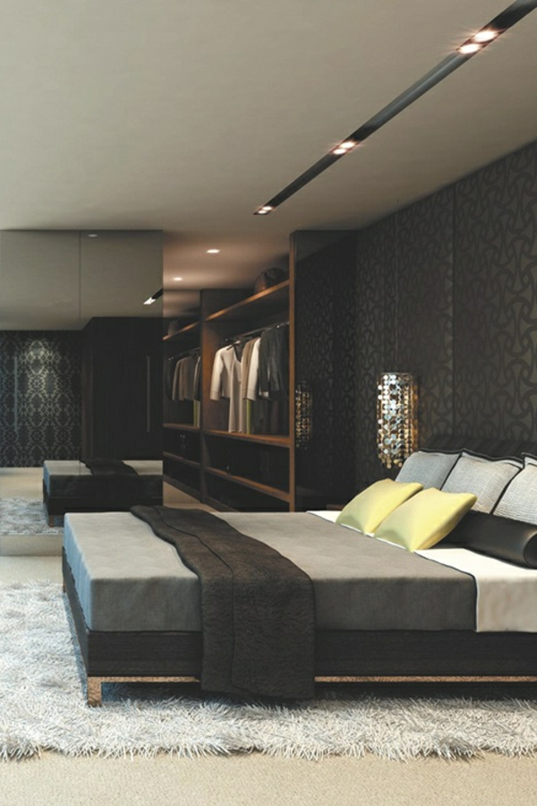 schlafzimmer-inspiration-männer-graue-farbe- moderne deckenleuchten