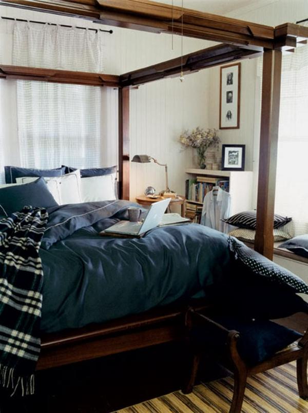 schlafzimmer-inspirationen-für-männer- weiße gardinen