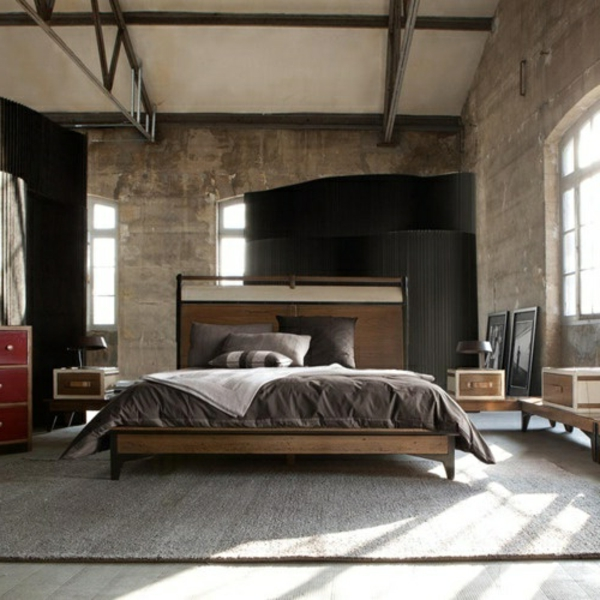 schlafzimmergestaltung-für-männer-interessante wand und hohe decke