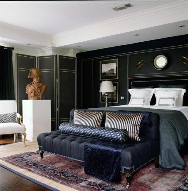 schlafzimmergestaltung-ideen-modern- schwarze couch