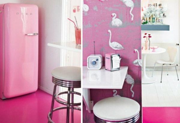 smeg-rosa-kühlschrank-drei-bilder-interessante dekoration für wände zeigen