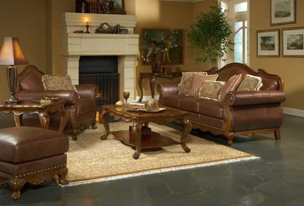 ultramoderne-wohnzimmereinrichtung-beispiele-braune farbe für die ledermöbel