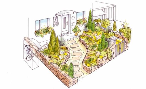 vorgartengestaltung-reihenhaus-weg-aus-steinen