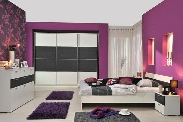 wandfarben-für-schlafzimmer-lila-sehr schöne schränke