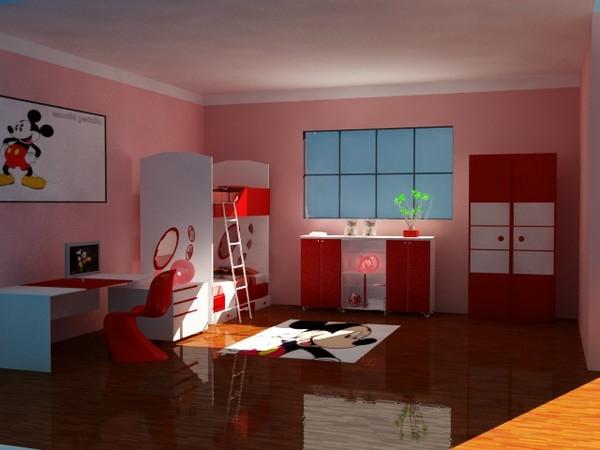 wandgestaltung-in-rosiger-farbe-mädchenzimmer- auffällige beleuchtung