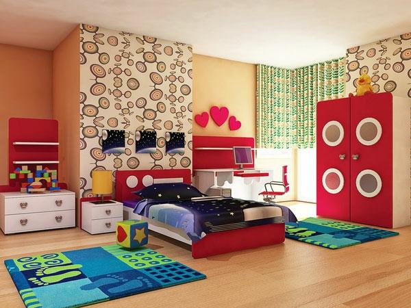 wandgestaltung-mädchenzimmer- blaue teppiche