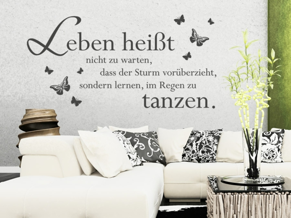 wandtattoos wohnzimmer zitate reuniecollegenoetsele. Black Bedroom Furniture Sets. Home Design Ideas