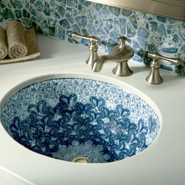 Orientalische Fliesen für ein cooles Ambiente! ~ Waschbecken Blau