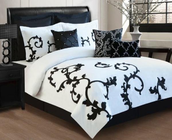 weiß-schwarz-modernes-bett-gestalten-kreative deko