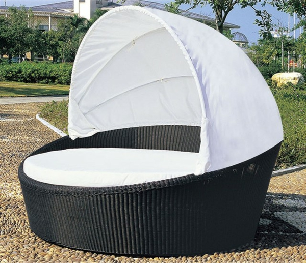 weiße-gestaltung-outdoor-bett-modell mit runder form