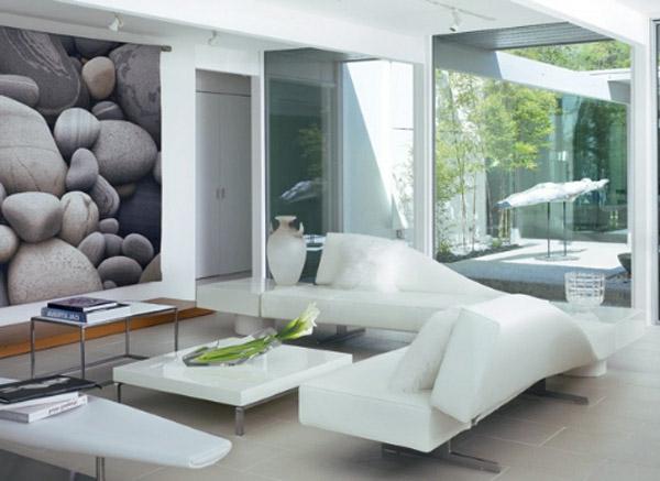 weiße-wohnzimmergestaltung- sofa in weiß mit extravaganter form