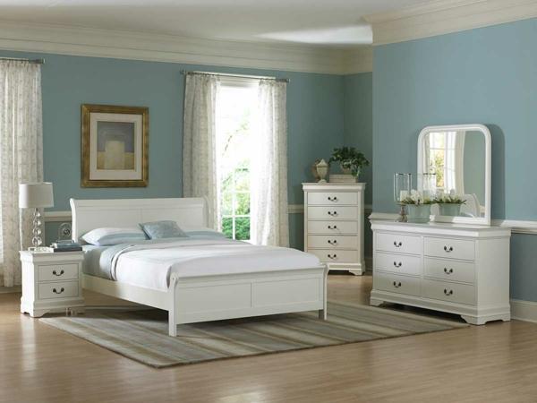 Weißes Schönes Schlafzimmer Wände In Blau Schlafzimmermöbel In Weiß U2013 42  Super Ideen!