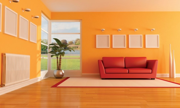 einrichten mit farben: farbe orange - der andere name für trend ... - Wandgestaltung Wohnzimmer Orange