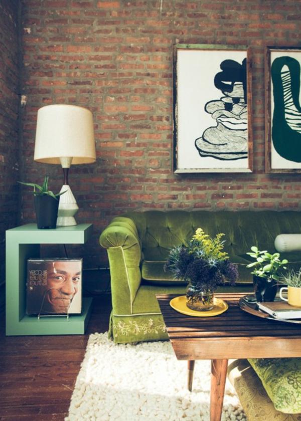 grünes wohnzimmer ideen:grünes wohnzimmer ideen : Ziegelwand in der Wohnung integrieren
