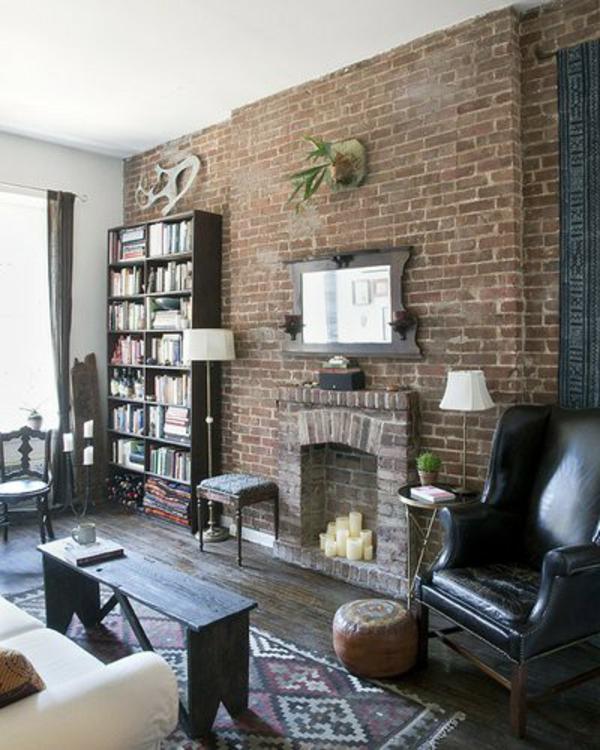 ziegelwand wohnzimmer:Ziegelwand in der Wohnung integrieren – extravagante Ideen