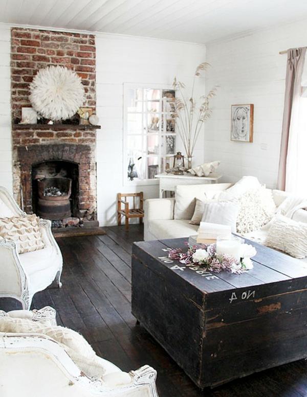 Ziegelwände Wohnzimmer Mit Kamin
