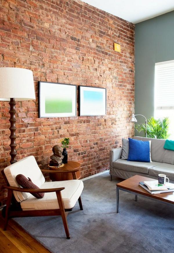 ziegelwand wohnzimmer:33 extravagante Ideen wie man eine Ziegelwand zu Hause integriert ~ ziegelwand wohnzimmer