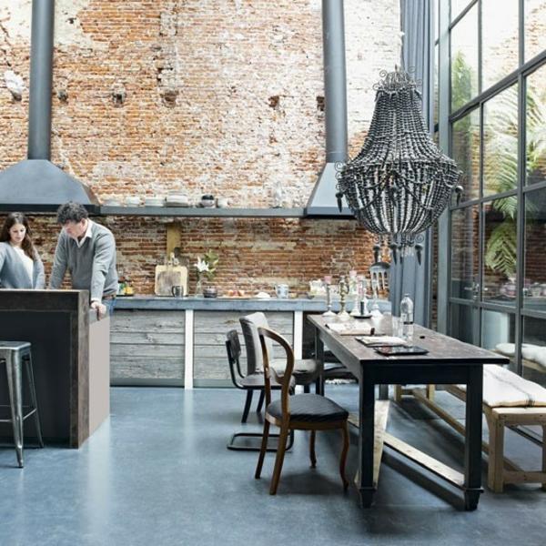 Ziegelwand Küche Gestalten