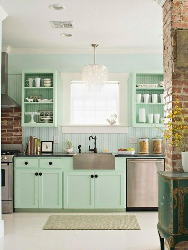 ziegelwand-küche-grün