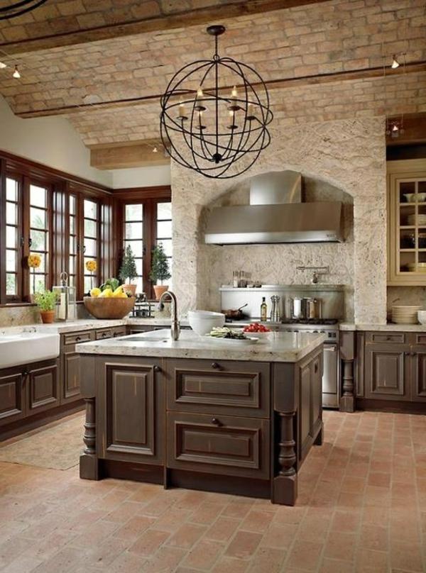 Ziegelwand Küche