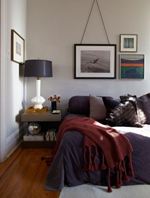 zimmer-wandgestalltung-bilder-aufhängen- kleines schlafzimmer