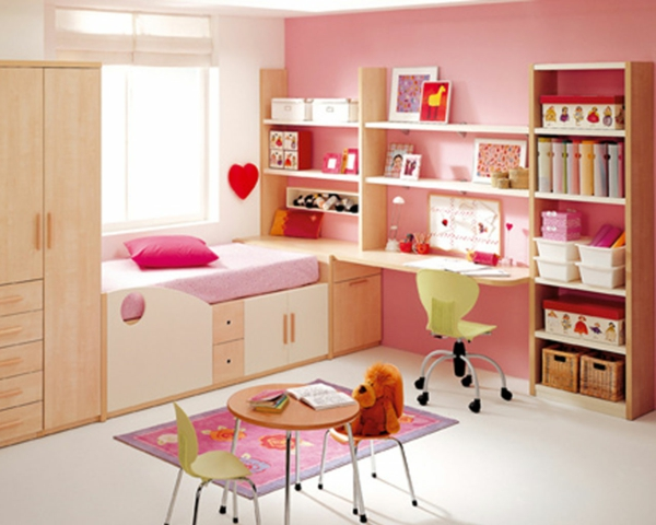zimmergestaltung-modern-mädchenzimmer-runder tisch