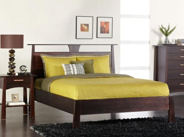 skandinavisches bett im eleganten schlafzimmer mit. Black Bedroom Furniture Sets. Home Design Ideas