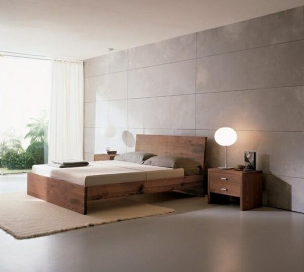 Bett-Position-nach-Feng-Shui-Farben-Schlafzimmer-gestalten-Holzmöbel-erdfarben